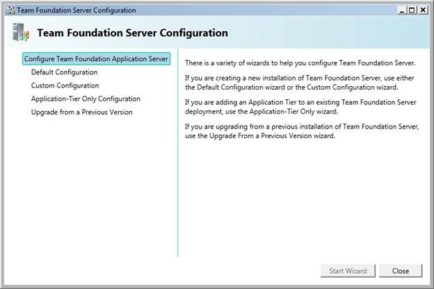 you should now see the team foundation server