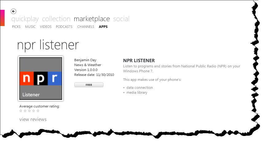 My First Windows Phone 7 App Is Live: NPR Listener