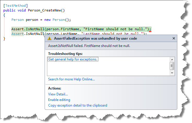 Silverlight Unit Tests: How to Stop Breaking on Assert