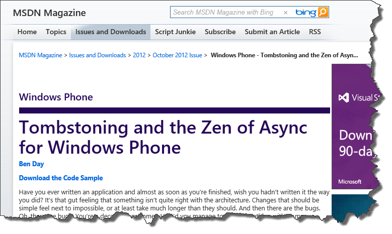 Article: Tombstoning and the Zen of Async for Windows Phone