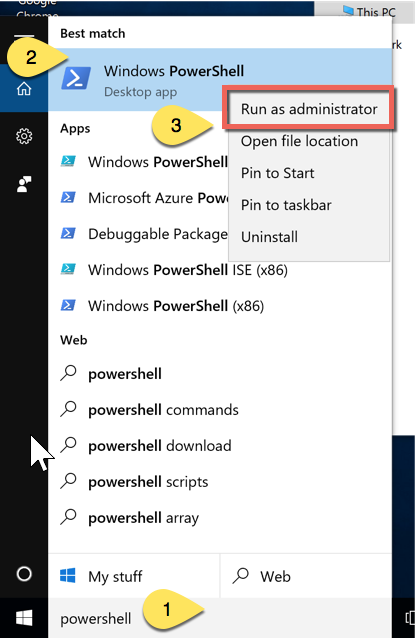 Run PowerShell in Administrator mode