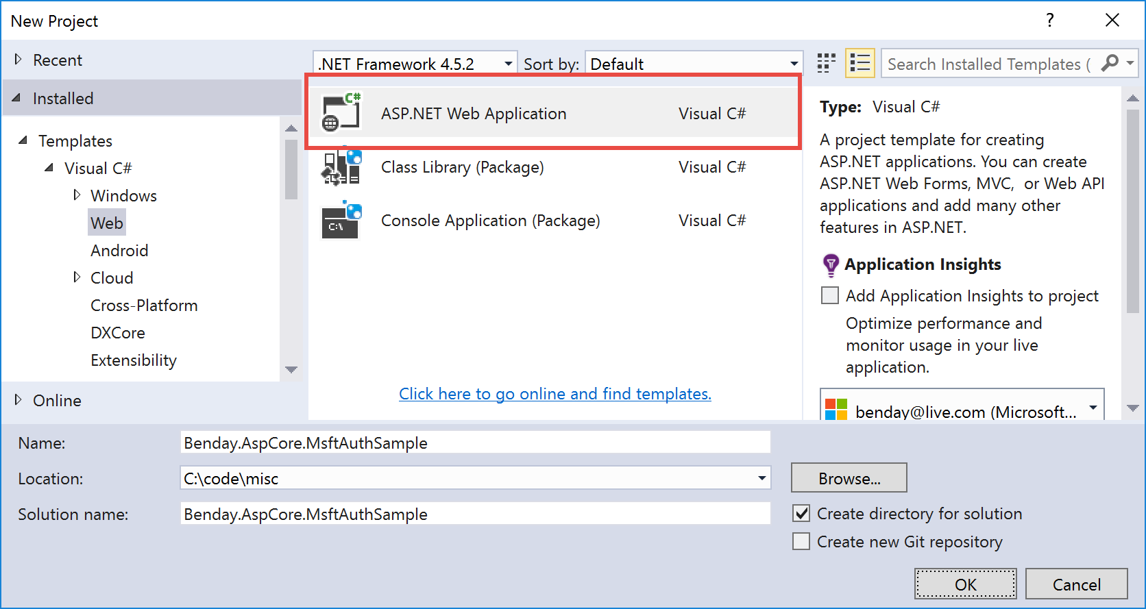 How to create web api in asp net core mvc using entity - Step 2 Create The Asp Net Core Mvc Project