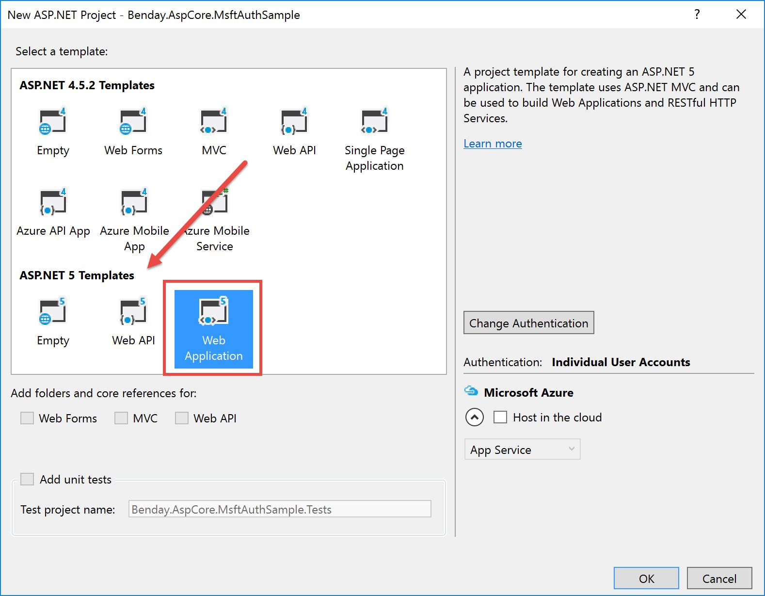 Walkthrough: ASP NET Core 1 0 MVC Identity with Microsoft Account