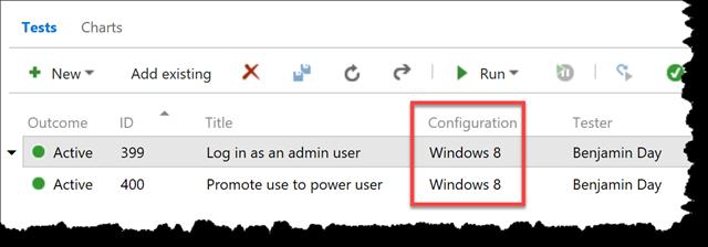Test Hub Test Configurations always say Windows 8