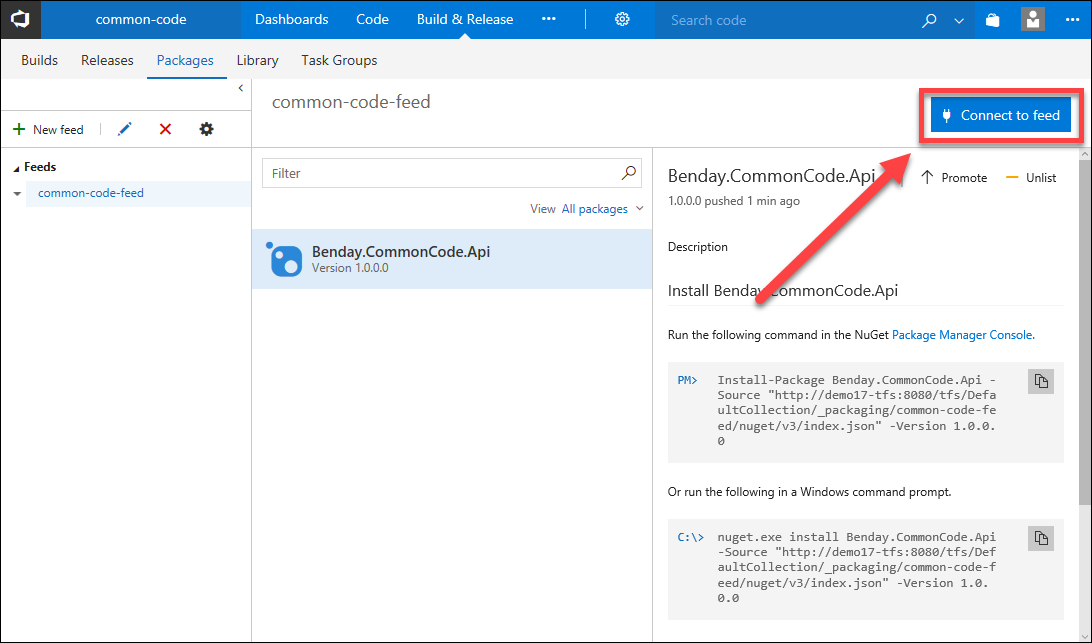 Walkthrough: Use a Package from a Private NuGet Server in