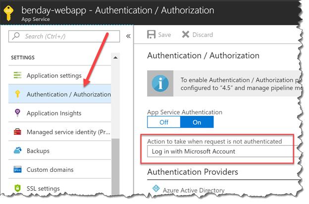 Walkthrough: Part 4, Azure App Service Authentication with a