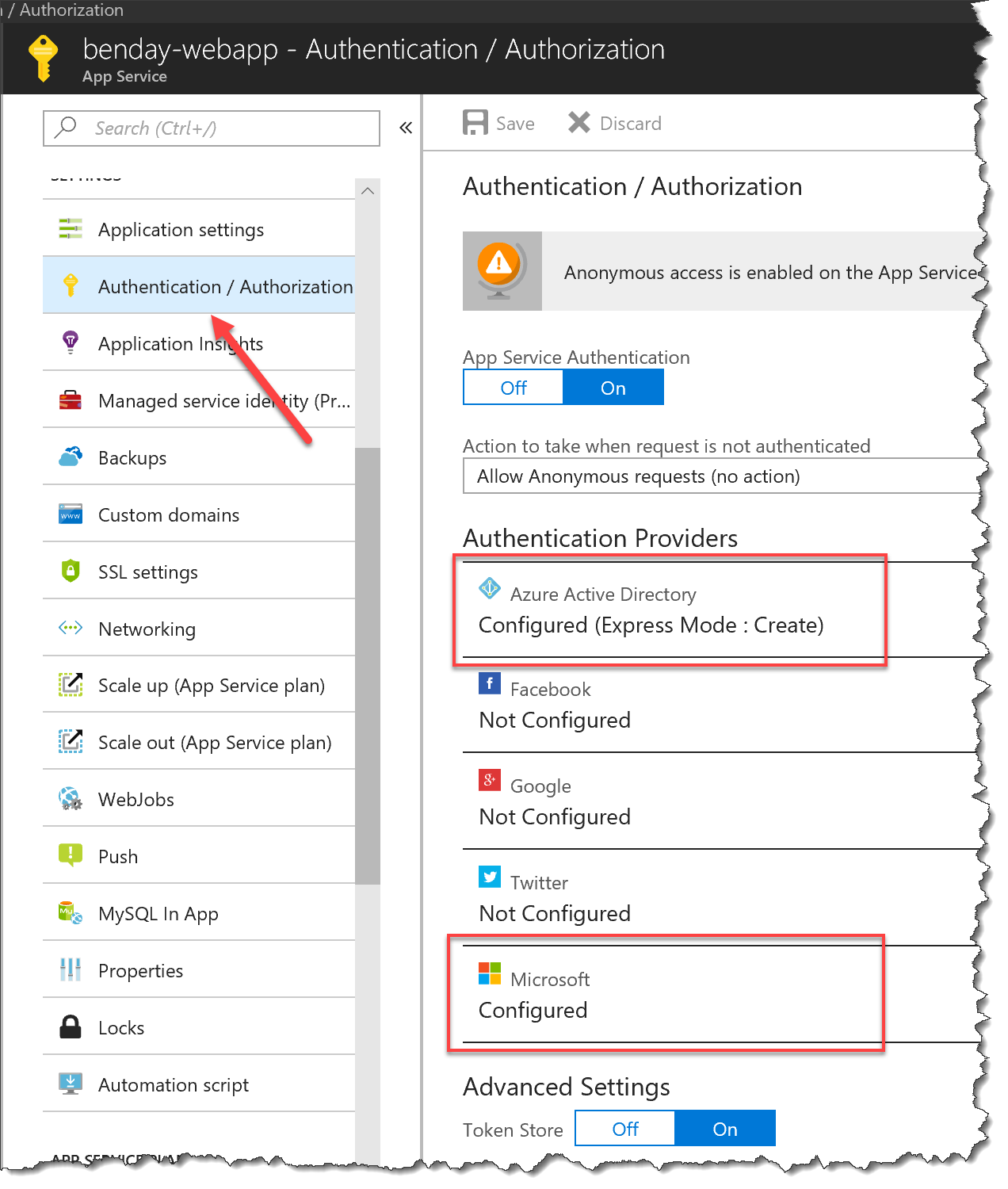 ASP NET Core & Azure Easy Auth with Multiple Authentication