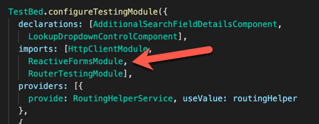 Change the import to ReactiveFormsModule