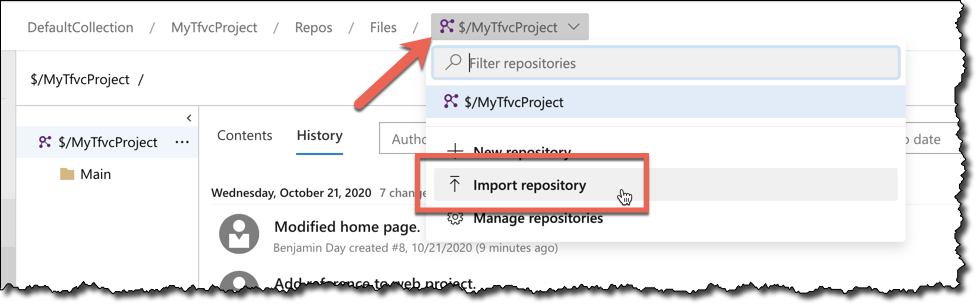 To start converting your Azure DevOps TFVC repository to Git, go to the repositories menu and choose Import repository