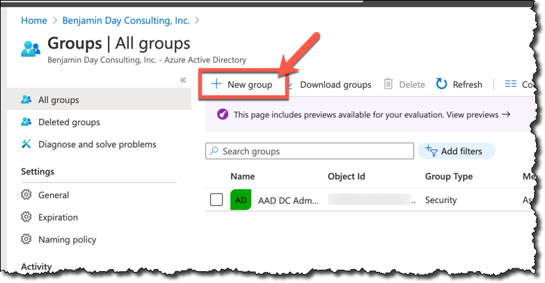Azure Active Directory Groups page