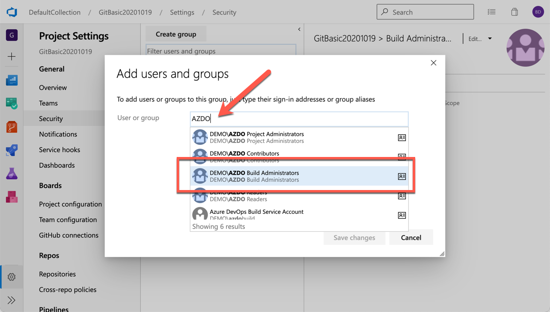 The Add Users and Groups dialog