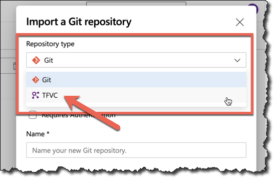 Change the repository type from Git to TFVC before importing